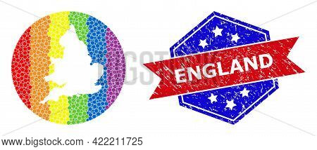 Dot Spectral Map Of England Collage Created With Circle And Subtracted Shape, And Distress Seal Stam