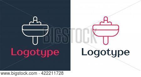 Logotype Line Washbasin With Water Tap Icon Isolated On White Background. Logo Design Template Eleme