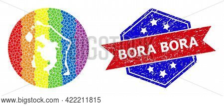 Dot Rainbow Gradiented Map Of Bora-bora Mosaic Composed With Circle And Stencil, And Scratched Seal.