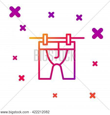 Color Line Drying Clothes Icon Isolated On White Background. Clean Shirt. Wash Clothes On A Rope Wit