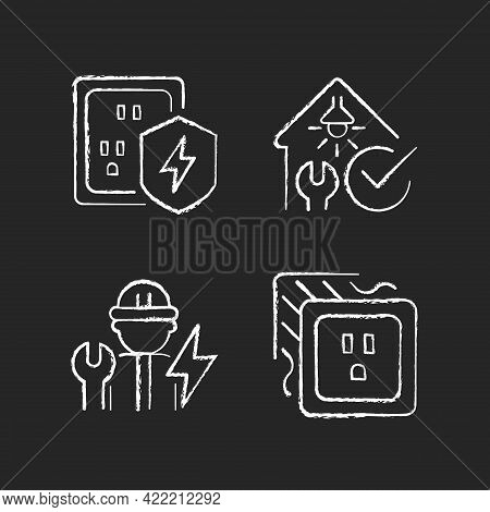 Electrician Service Chalk White Icons Set On Dark Background. Surge Protection. Electrical Safety In
