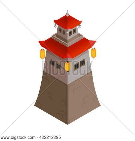 Asian Pagoda Tower Building With Lanterns And Red Roof Isometric 3d Icon Vector Illustration