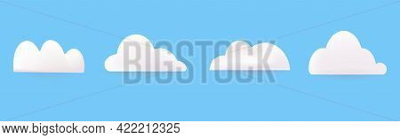 White 3d Clouds Are Fluffy Plasticine, Isolated On A Blue Background. Vector Illustration. Minimal S