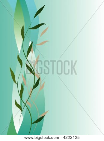 Vertical Abstract Background With Leaves