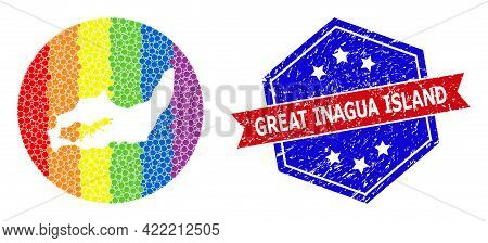 Dotted Spectral Map Of Great Inagua Island Collage Designed With Circle And Hole, And Grunge Badge.