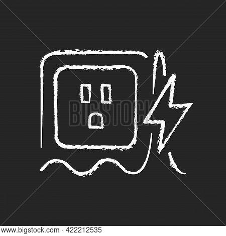 Power Surge Chalk White Icon On Dark Background. Brief Overvoltage Spikes. Unexpected Electricity Fl