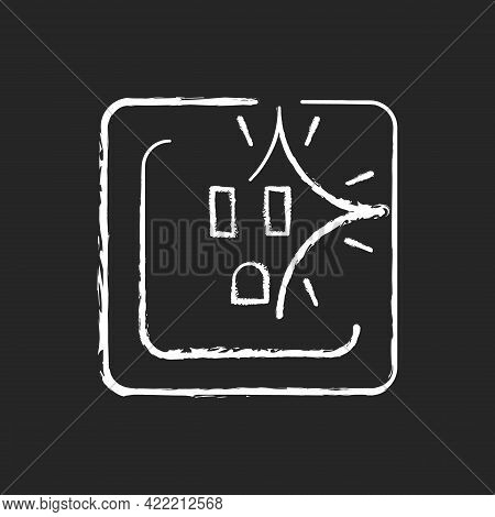 Sparking Outlet Chalk White Icon On Dark Background. Short Circuit. Crackling Sounds. Faulty Wiring.
