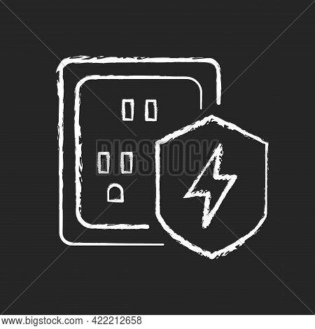Surge Protection Chalk White Icon On Dark Background. Electrical Installation Protection. Voltage Sp