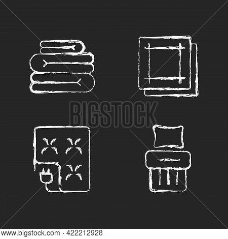 Household Textile Chalk White Icons Set On Dark Background. Folded Sheets. Electric Blanket. Kitchen