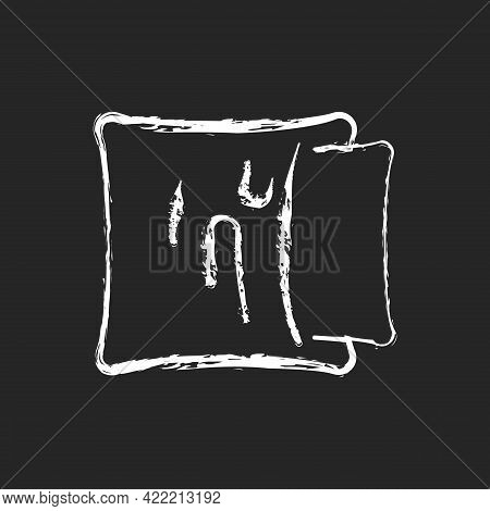Pillowcase Chalk White Icon On Dark Background. Comfortable Cushion For Bed. Pillow Cases. Textile P