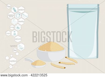 Bamboo Worm Powder Insects For Eating As Food Edible Processed Made Of Cooked Insect In Packaging Po