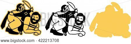 Dad Plays With The Baby. A Father Rides His Son On His Back, Dressed As A Pirate. A Fun Joint Game O