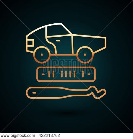Gold Line Car Theft Icon Isolated On Dark Blue Background. Vector