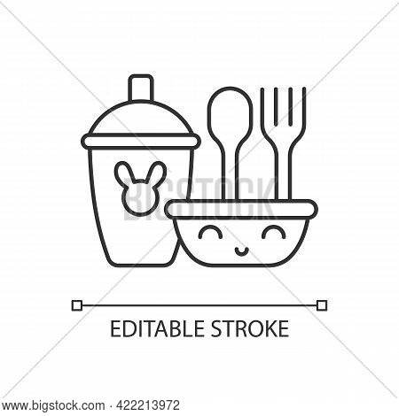 Kids Dinnerware Linear Icon. Plates Created For Children To Eat Comfortably. Learning How To Eat. Th