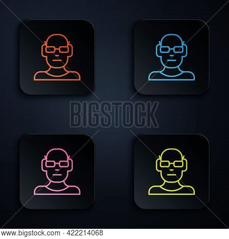 Color Neon Line Poor Eyesight And Corrected Vision With Optical Glasses Icon Isolated On Black Backg