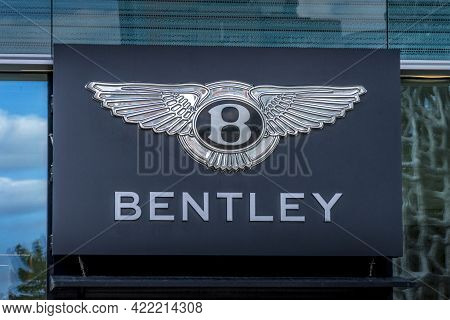 Bentley Sign And Logo On The Car Showroom In Vilnius, Lithuania On Vilnius, Lithuania On May 30, 202