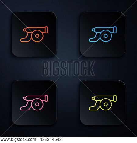 Color Neon Line Ramadan Cannon Icon Isolated On Black Background. Set Icons In Square Buttons. Vecto