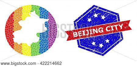 Pixel Rainbow Gradiented Map Of Beijing Municipality Mosaic Designed With Circle And Subtracted Shap