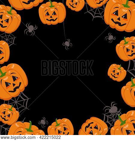 Cute Dark Frame With Pumpkins, Cobwebs And Spiders. Halloween Party Decoration. Vegetable Print With