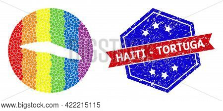 Pixelated Spectrum Map Of Haiti Tortuga Island Mosaic Designed With Circle And Stencil, And Scratche
