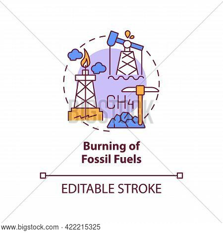 Fossil Fuels Burning Concept Icon. Human Carbon Emissions Cause Abstract Idea Thin Line Illustration