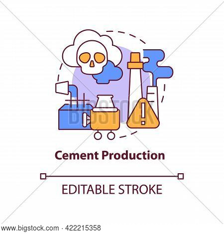 Cement Production Concept Icon. Human Carbon Emission Abstract Idea Thin Line Illustration. Manufact