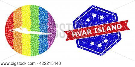 Pixel Spectrum Map Of Hvar Island Mosaic Created With Circle And Stencil, And Distress Watermark. Lg