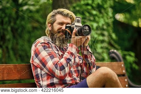 Find Perfect Angle. Man With Retro Camera. Photography In Modern Life. Photographer Use Vintage Came