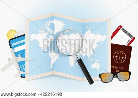 Travel Destination Czech Republic, Tourism Mockup With Travel Equipment And World Map With Magnifyin