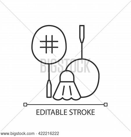 Badminton Linear Icon. Hitting Shuttlecock Over Net. Heart-racing Workout. Recreational Game. Thin L