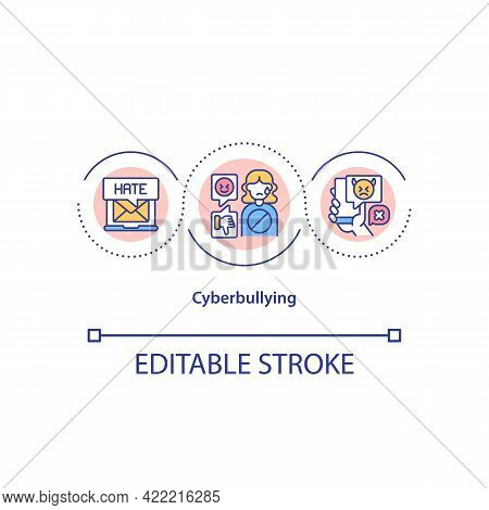 Cyberbullying Concept Icon. Attacking Targets Anonymously In Cyberspace Idea Thin Line Illustration.