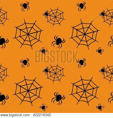 Cute Seamless Pattern With Black Cobwebs And Spiders On An Orange Background. Halloween Party Decora