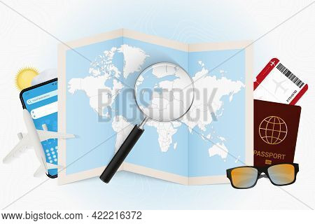 Travel Destination Latvia, Tourism Mockup With Travel Equipment And World Map With Magnifying Glass