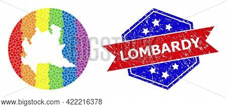 Dot Rainbow Gradiented Map Of Lombardy Region Collage Created With Circle And Hole, And Textured Sea