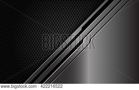Abstract Metal Black Line Circuit Slash On Dark Circle Mesh Design Modern Luxury Futuristic Technolo