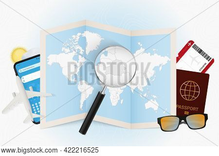 Travel Destination Belarus, Tourism Mockup With Travel Equipment And World Map With Magnifying Glass