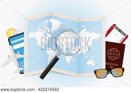 Travel Destination Bulgaria, Tourism Mockup With Travel Equipment And World Map With Magnifying Glas