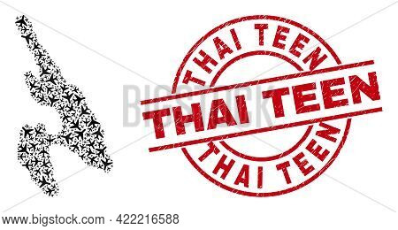 Thai Teen Rubber Seal Stamp, And Koh Phi Don Map Mosaic Of Aviation Items. Collage Koh Phi Don Map C