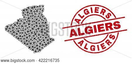 Algiers Scratched Badge, And Algeria Map Collage Of Aircraft Elements. Collage Algeria Map Created W
