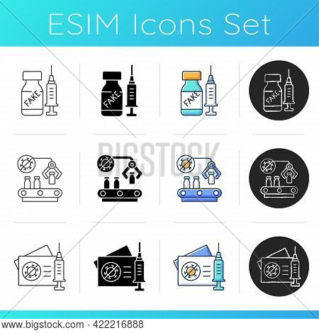 Vaccine Production Icons Set. Fake Pharmaceutical Drug. Medical Production. Medication Distribution.