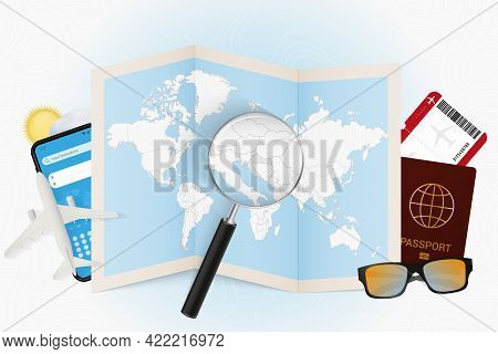Travel Destination Croatia, Tourism Mockup With Travel Equipment And World Map With Magnifying Glass