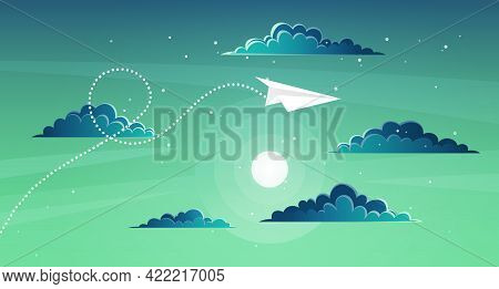 Paper Plane Flying Over Sunset Sky Landscape. Airplane Flying Among Clouds And Sun, Art Style. Patte