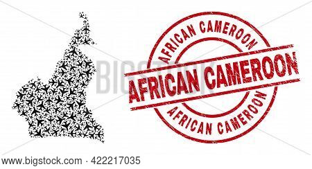 African Cameroon Grunged Badge, And Cameroon Map Collage Of Aircraft Items. Collage Cameroon Map Des