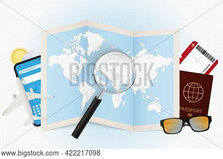 Travel Destination Serbia, Tourism Mockup With Travel Equipment And World Map With Magnifying Glass