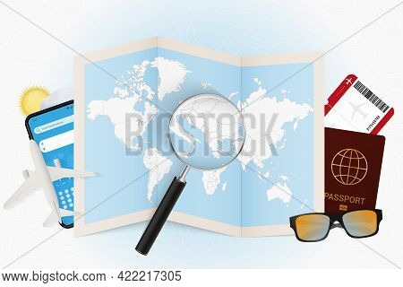 Travel Destination Albania, Tourism Mockup With Travel Equipment And World Map With Magnifying Glass