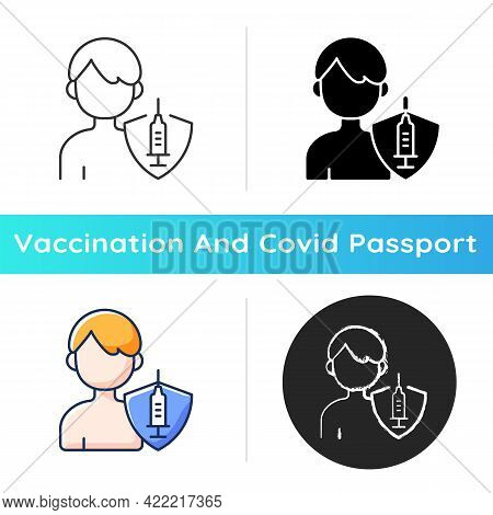 Vaccination Of Teens Icon. Teenage Child Immunization. Hospital Patient. Treatment For Virus Immunit