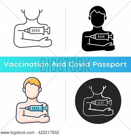Injection In Arm Icon. Influenza Clinic Treatment. Drug Inoculation. Vaccine Shot For Patient. Healt