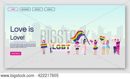 Lgbt Protest Landing Page Vector Template. Love Is Love Website Interface Idea With Flat Illustratio