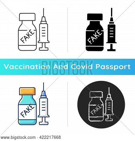 Fake Vaccine Icon. False Covid Drug. Fraudulent Medication. Disease Treatment Problem. Health Care A