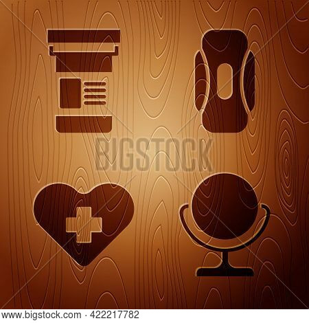 Set Round Makeup Mirror, Medicine Bottle, Heart With A Cross And Sanitary Napkin On Wooden Backgroun